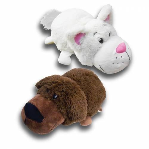 "FlipaZoo 16"" Plush - Chocolate Labrador / White Cat"