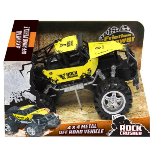 Rock Crusher 4x4 Metal Off Road Vehicle 30cm - Yellow