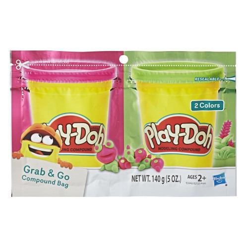 Play-Doh Grab & Go Compound Bag - Pink & Green