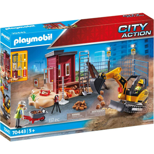 Playmobil 70443 City Action Mini Excavator with Building Section