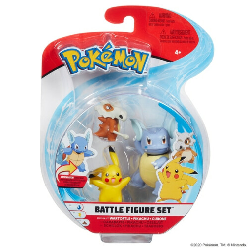 Pokemon Battle Figure Set - Wartortle, Pikachu, Cubone
