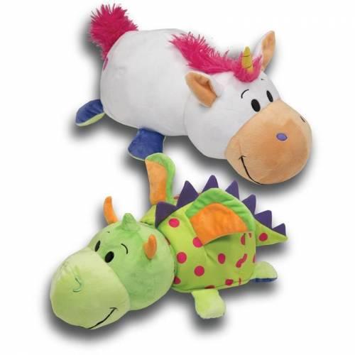 "FlipaZoo 16"" Plush - White Unicorn / Green Dragon"