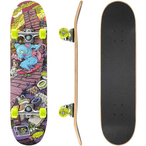 "Xootz Kids 31"" Double Kick End Skateboard - Rat Ramp"