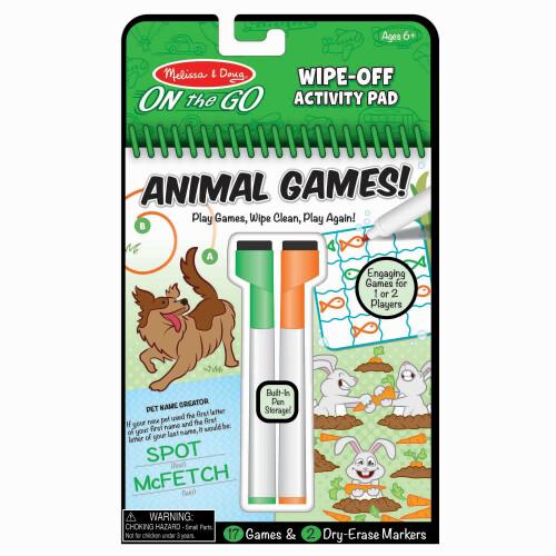 Melissa & Doug Wipe-Off Activity Pad - Animal Games!