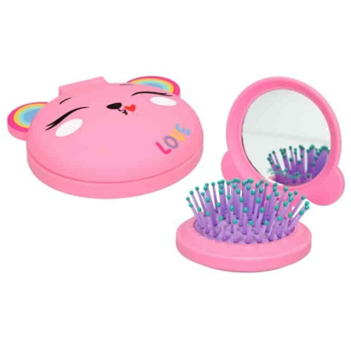 Depesche Ylvi and the Minimoomis Folding Hairbrush with Mirror - Pink