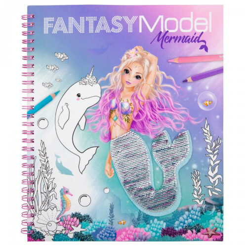 Depesche Fantasy Model Mermaid Colouring Book with Reversible Sequins