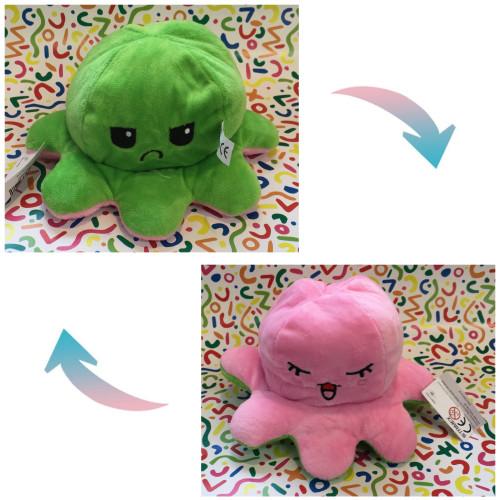 Reversible Octopus Plush - Sad Green / Pink Bliss