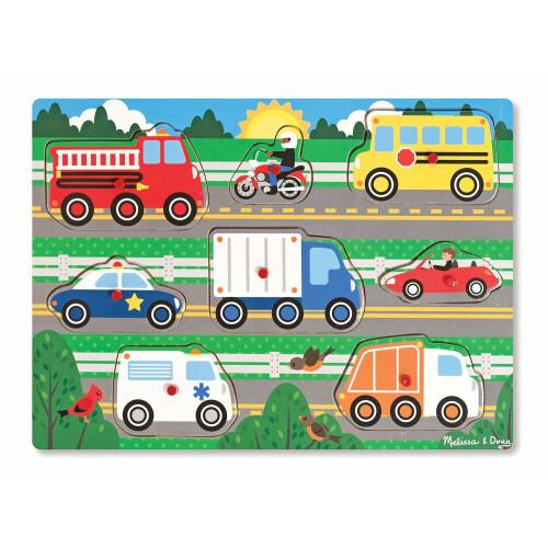 Melissa & Doug Vehicles Wooden Peg Puzzle