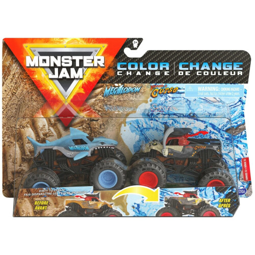 Monster Jam 1:64 Colour Change 2 Pack - Megalodon vs Pirate's Curse