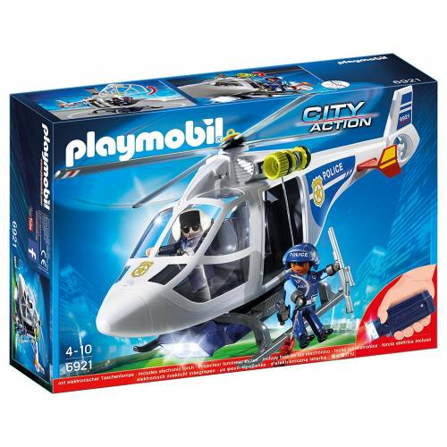 Playmobil City Action 6921 Police Helicopter with LED Working Searchlight