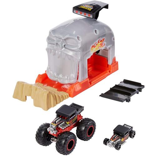 Hot Wheels Monster Trucks Pit and Launch Set Team Bone Shaker