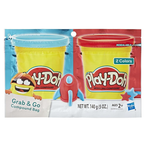 Play-Doh Grab & Go Compound Bag - Blue & Red